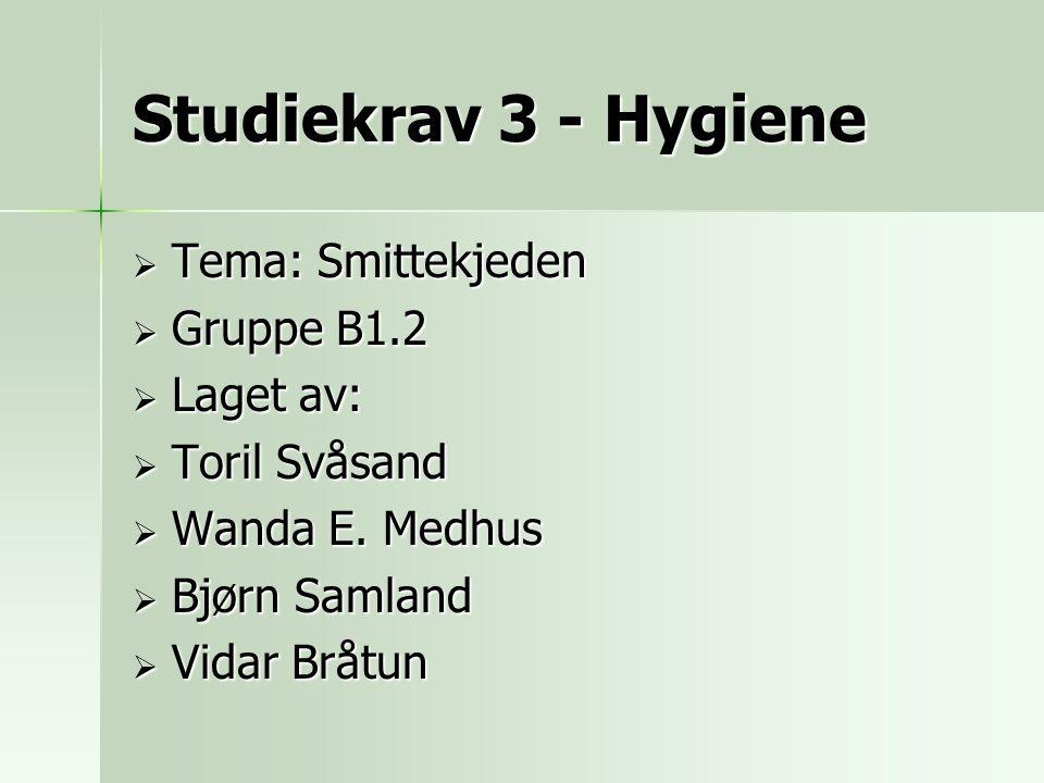 Studiekrav 3 - Hygiene  Tema: Smittekjeden  Gruppe B1.2  Laget av:  Toril Svåsand  Wanda E. Medhus  Bjørn Samland  Vidar Bråtun