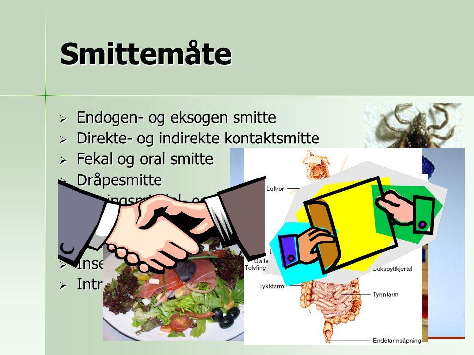 Smittemåte  Endogen- og eksogen smitte  Direkte- og indirekte kontaktsmitte  Fekal og oral smitte  Dråpesmitte  Næringsmiddel- og vannbåren smitt