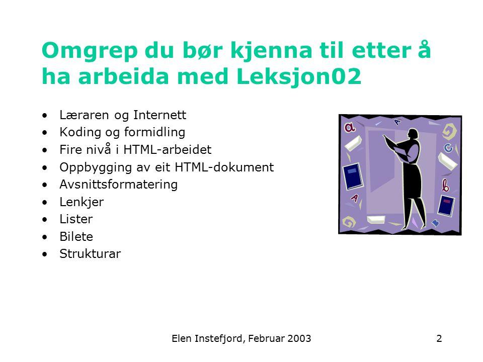 Elen Instefjord, Februar 20032 Omgrep du bør kjenna til etter å ha arbeida med Leksjon02 Læraren og Internett Koding og formidling Fire nivå i HTML-arbeidet Oppbygging av eit HTML-dokument Avsnittsformatering Lenkjer Lister Bilete Strukturar