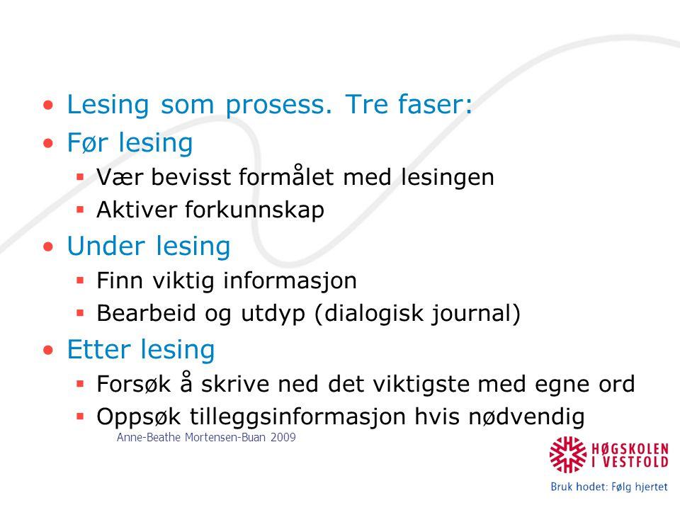 Anne-Beathe Mortensen-Buan 2009 Lesing som prosess. Tre faser: Før lesing  Vær bevisst formålet med lesingen  Aktiver forkunnskap Under lesing  Fin