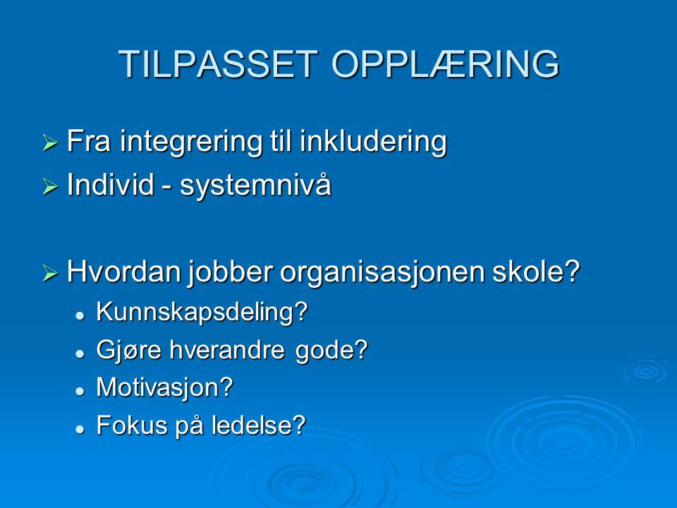 TILPASSET OPPLÆRING  Fra integrering til inkludering  Individ - systemnivå  Hvordan jobber organisasjonen skole.