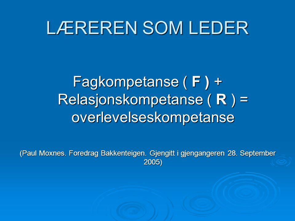 LÆREREN SOM LEDER Fagkompetanse ( F ) + Relasjonskompetanse ( R ) = overlevelseskompetanse (Paul Moxnes.