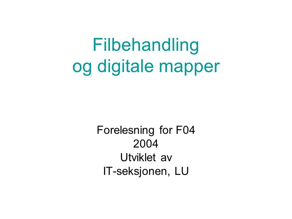 Filbehandling og digitale mapper Forelesning for F04 2004 Utviklet av IT-seksjonen, LU