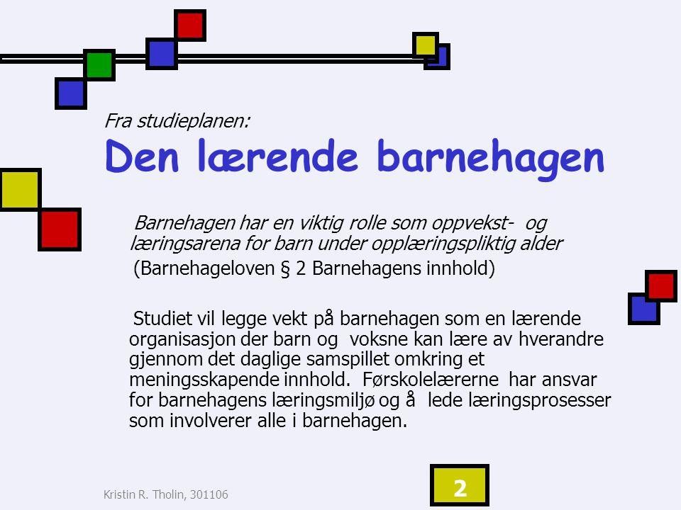 Kristin R.Tholin, 301106 3 DISPOSISJON: Læring i rammeplan for bhg, 2006.