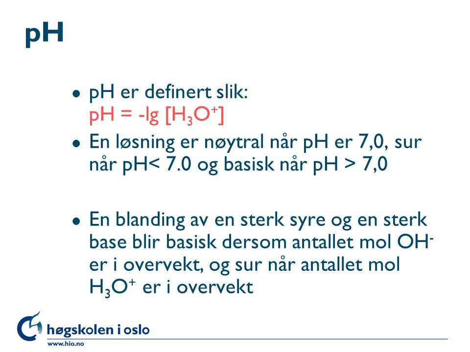 Salter og oksider i vann l Blir løsningen nøytral, sur eller basisk.