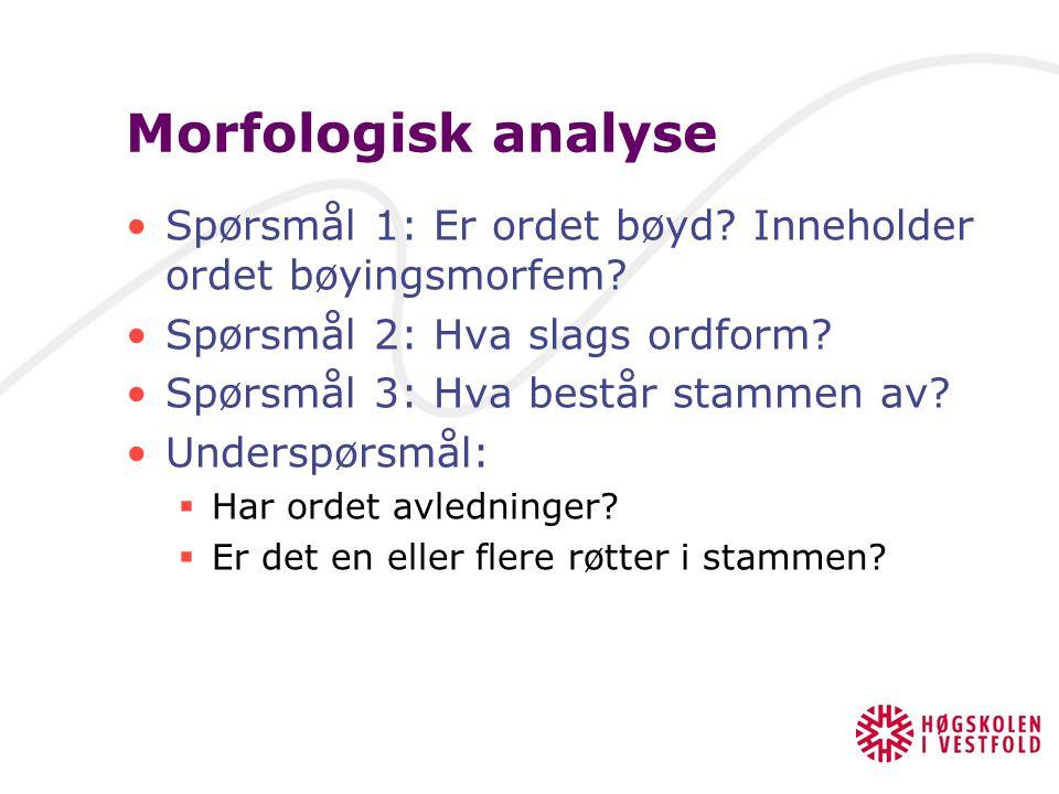 Morfologisk analyse Vi gjør en morfologisk analyse for å finne ut hvilke deler – morfem – et ord består av Dette er en del av grunnlaget for å kunne s