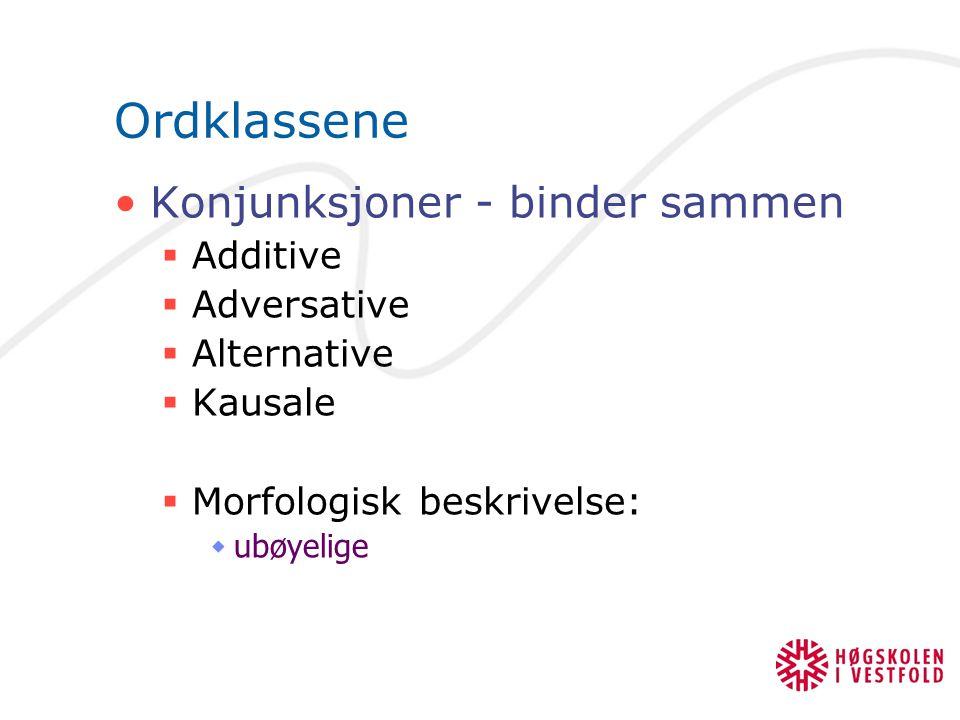 Ordklassene Adverb  Uensartet klasse, kan:  si noe om omstendigheter rundt handlingen  beskrive eller modifisere innholdet i hele setningen  beskr