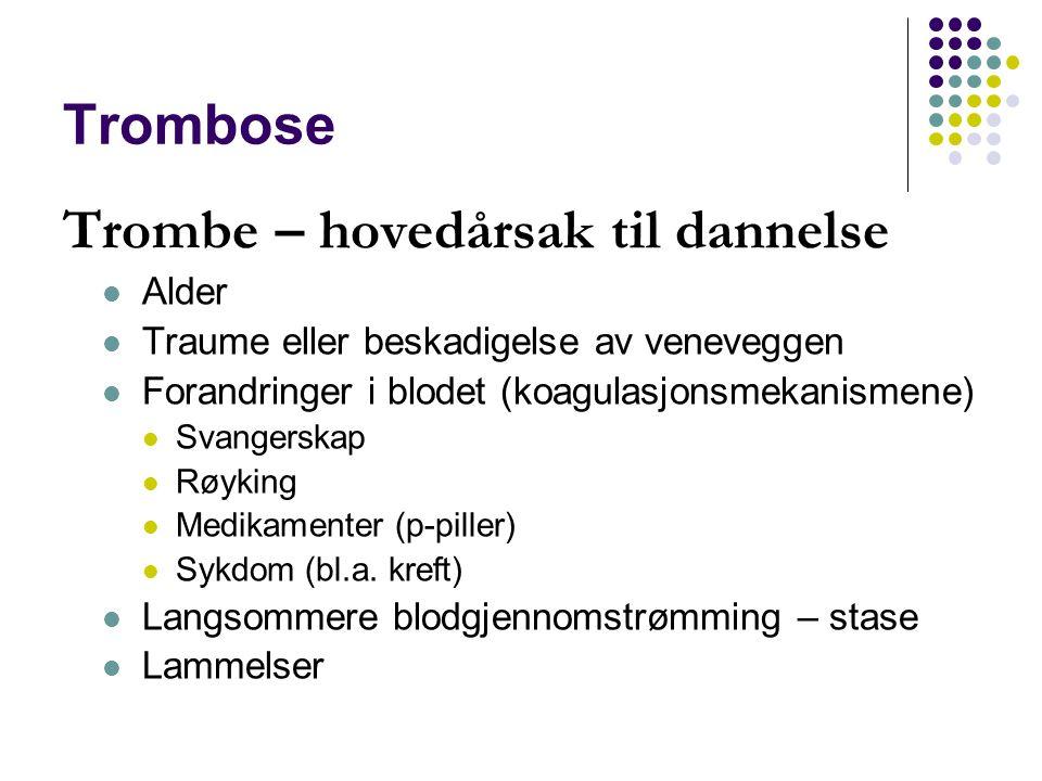 Trombose Trombe – hovedårsak til dannelse Alder Traume eller beskadigelse av veneveggen Forandringer i blodet (koagulasjonsmekanismene) Svangerskap Rø
