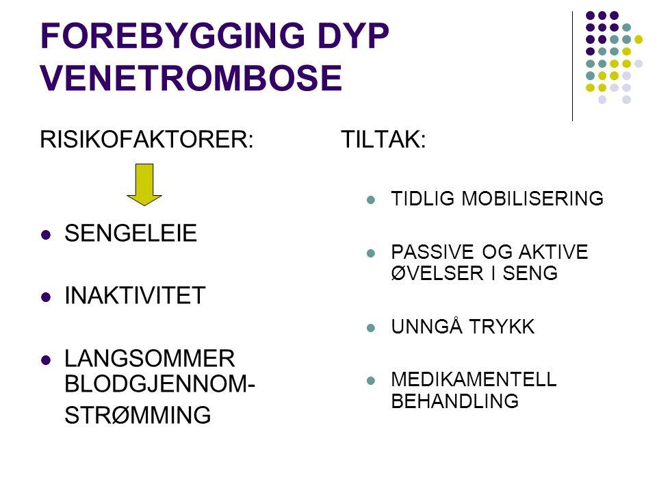 FOREBYGGING DYP VENETROMBOSE RISIKOFAKTORER: SENGELEIE INAKTIVITET LANGSOMMER BLODGJENNOM- STRØMMING TILTAK: TIDLIG MOBILISERING PASSIVE OG AKTIVE ØVE