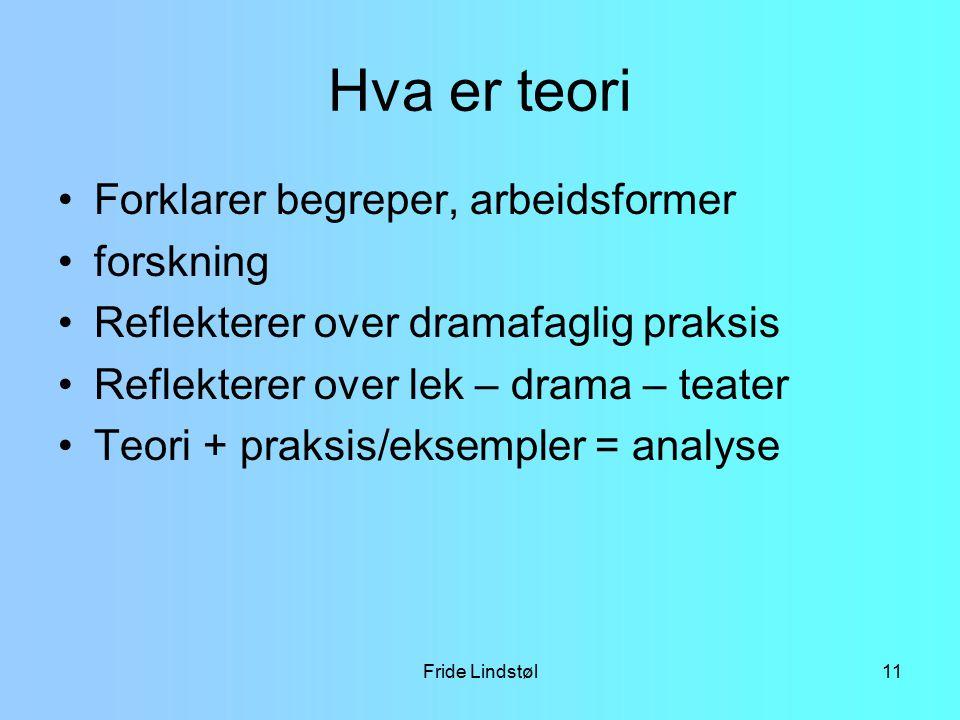 Fride Lindstøl11 Hva er teori Forklarer begreper, arbeidsformer forskning Reflekterer over dramafaglig praksis Reflekterer over lek – drama – teater T