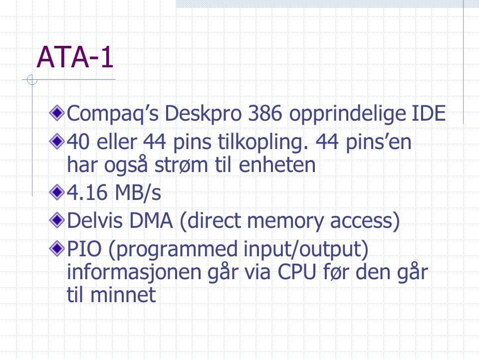 ATA-1 Compaq's Deskpro 386 opprindelige IDE 40 eller 44 pins tilkopling. 44 pins'en har også strøm til enheten 4.16 MB/s Delvis DMA (direct memory acc