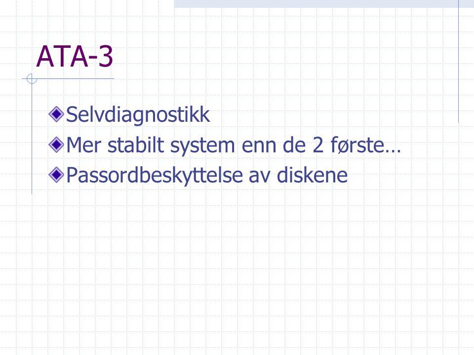 ATA-3 Selvdiagnostikk Mer stabilt system enn de 2 første… Passordbeskyttelse av diskene