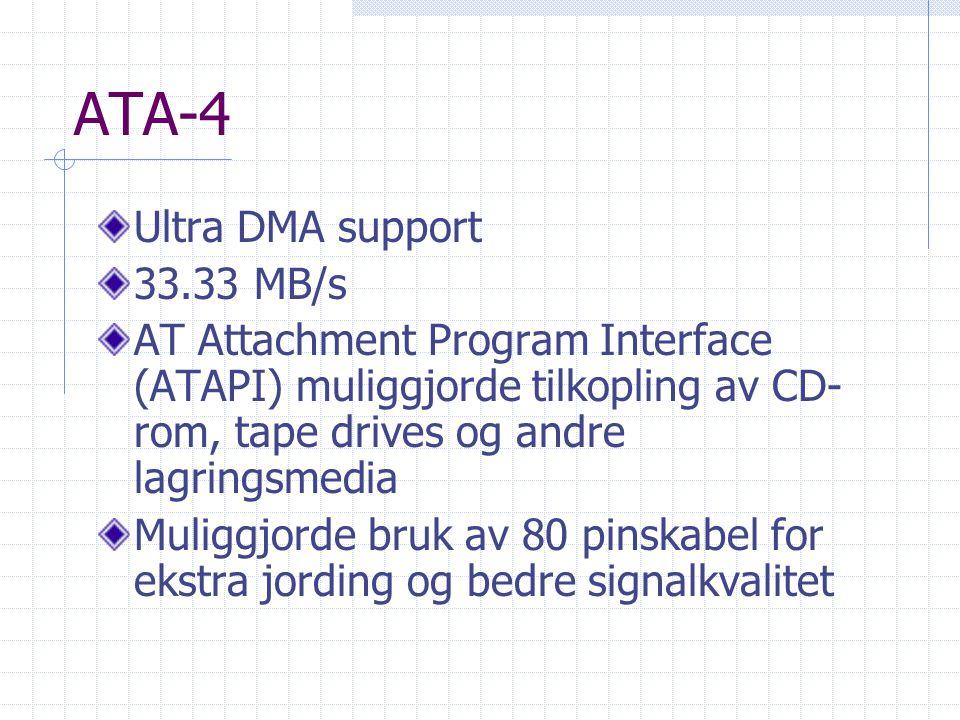ATA-4 Ultra DMA support 33.33 MB/s AT Attachment Program Interface (ATAPI) muliggjorde tilkopling av CD- rom, tape drives og andre lagringsmedia Mulig