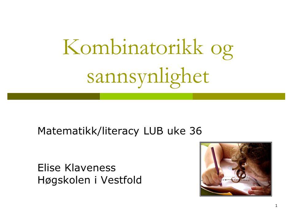 1 Kombinatorikk og sannsynlighet Matematikk/literacy LUB uke 36 Elise Klaveness Høgskolen i Vestfold