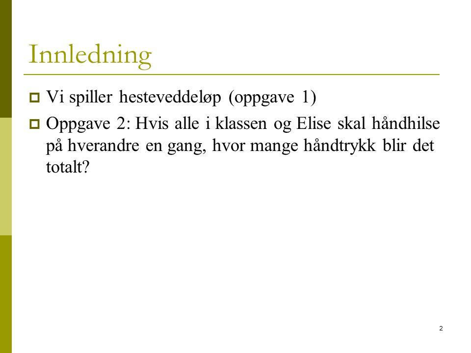 2 Innledning  Vi spiller hesteveddeløp (oppgave 1)  Oppgave 2: Hvis alle i klassen og Elise skal håndhilse på hverandre en gang, hvor mange håndtryk