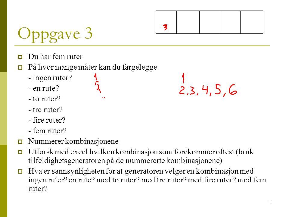 4 Oppgave 3  Du har fem ruter  På hvor mange måter kan du fargelegge - ingen ruter? - en rute? - to ruter? - tre ruter? - fire ruter? - fem ruter? 