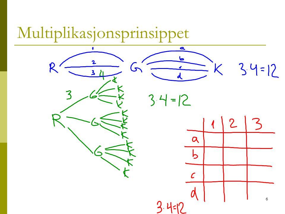 7 Oppgave 5  Vi arbeider med oppgaven: Hvor mange måter?