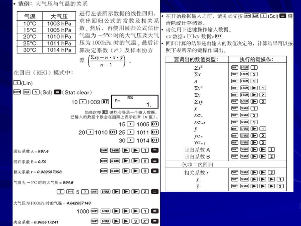 (一)单变量统计状态: SD ,可以计算 平均数、标准差和方差 CASIO fx-3800p : CASIO fx-3600pv
