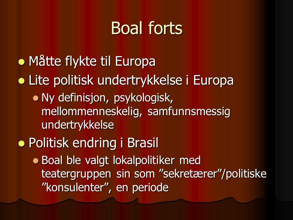 Boal forts Måtte flykte til Europa Måtte flykte til Europa Lite politisk undertrykkelse i Europa Lite politisk undertrykkelse i Europa Ny definisjon,