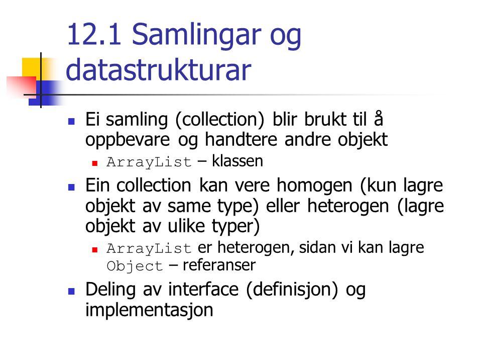 12.2 Dynamisk representasjon Eit array er statisk i størrelse Kan vere ineffektivt dersom vi ikkje veit behovet når vi lagar arrayet Må lage eit nytt og større array og kopiere innholdet over i det nye arrayet Ei lenka liste er dynamisk i størrelse Kvart element i lista har ein peikar til neste element Det siste elementet har ein nullpeikar til neste MagazineRack – eksemplet Ei dobbeltlenka liste har peikarar både til forrige og neste element