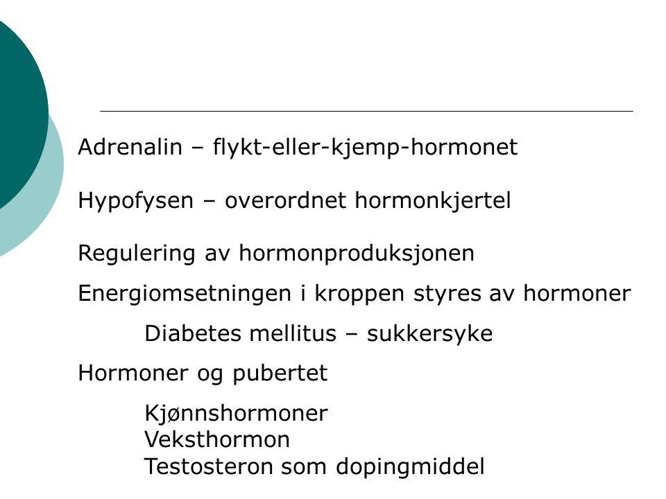 Adrenalin – flykt-eller-kjemp-hormonet Hypofysen – overordnet hormonkjertel Regulering av hormonproduksjonen Energiomsetningen i kroppen styres av hormoner Diabetes mellitus – sukkersyke Hormoner og pubertet Kjønnshormoner Veksthormon Testosteron som dopingmiddel