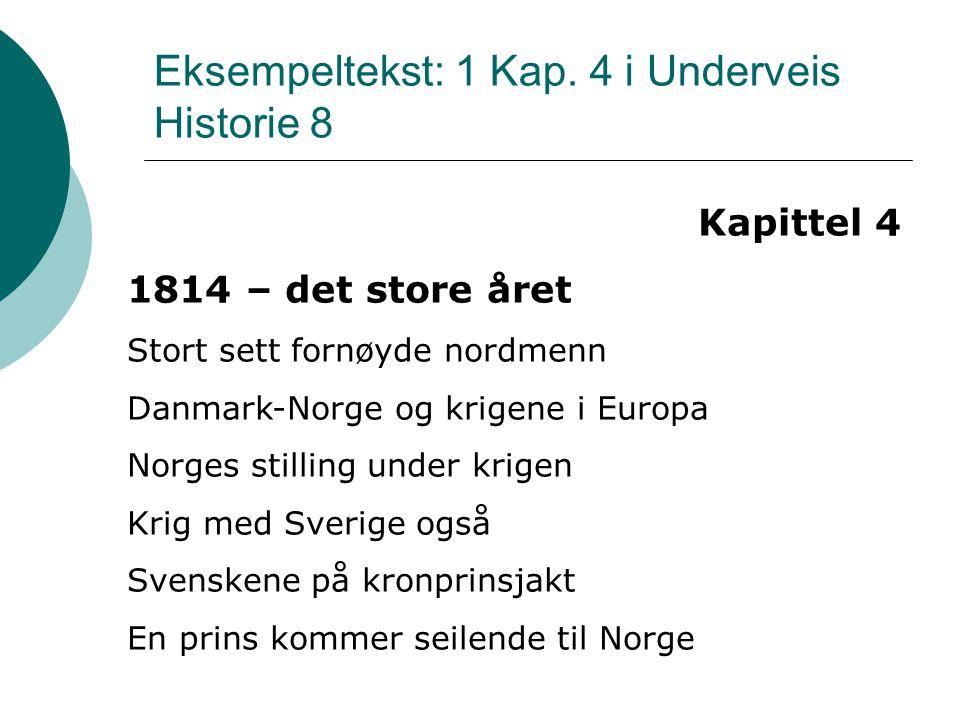 Slutten for Danmark-Norge Februarmøtet på Eidsvoll Eidsvollsmennene møtes Uenige om mye, enige om mangt Norge mot Europa Krigen mot Sverige Norge går inn i unionen Grunnloven overlevde