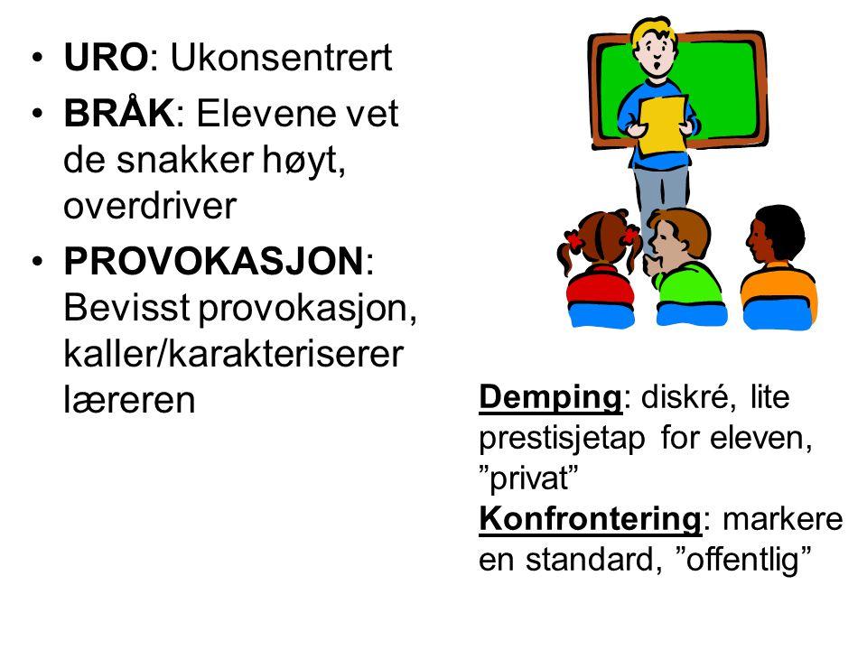 URO: Ukonsentrert BRÅK: Elevene vet de snakker høyt, overdriver PROVOKASJON: Bevisst provokasjon, kaller/karakteriserer læreren Demping: diskré, lite