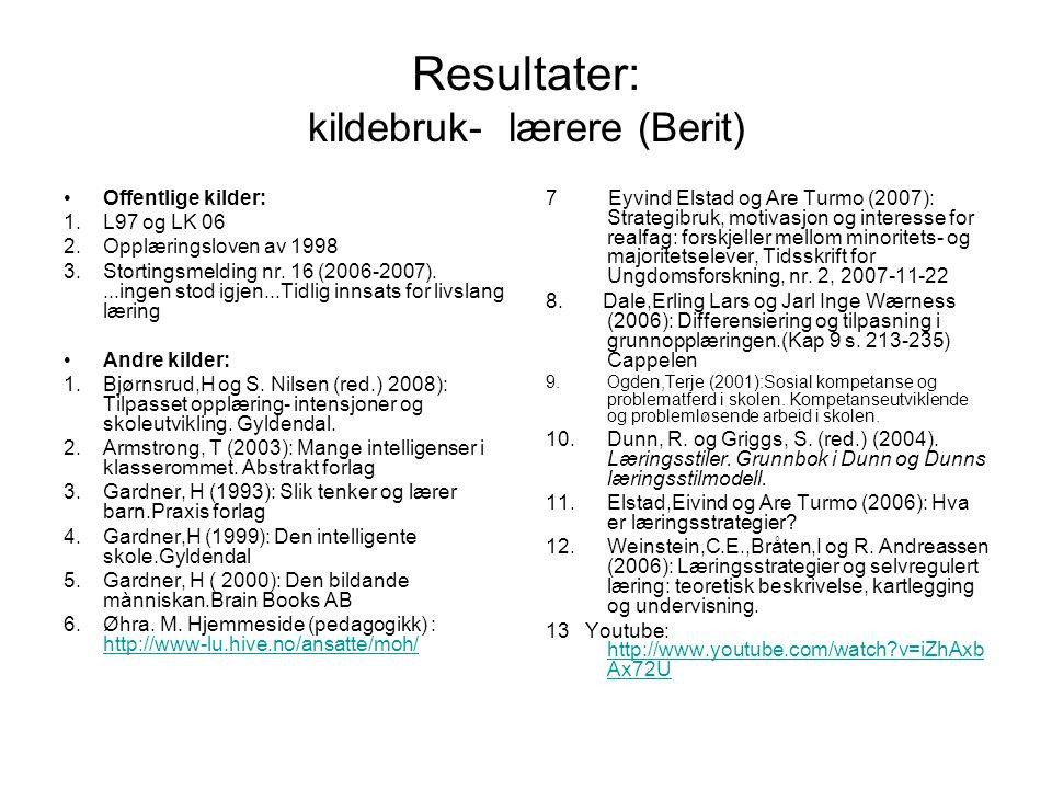 Resultater: kildebruk-studenter (Heidi) (Blå skrift=de bøker som lærere har brukt i undervisning) Offentlige: 1.L97 og LK 06 2.Opplæringsloven av 1998 3.Stortingsmelding nr.
