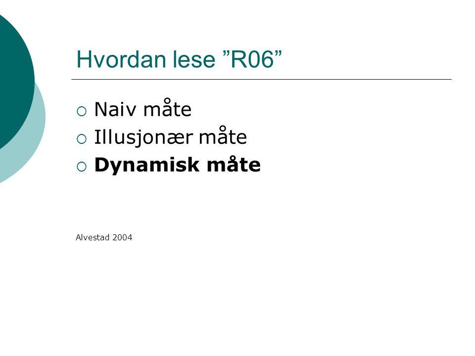 """Hvordan lese """"R06""""  Naiv måte  Illusjonær måte  Dynamisk måte Alvestad 2004"""