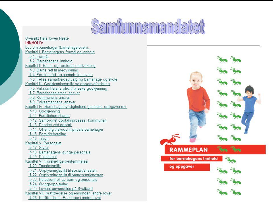 Ideenes læreplan  Det idègrunnlaget barnehagepedagogikken bygger på.
