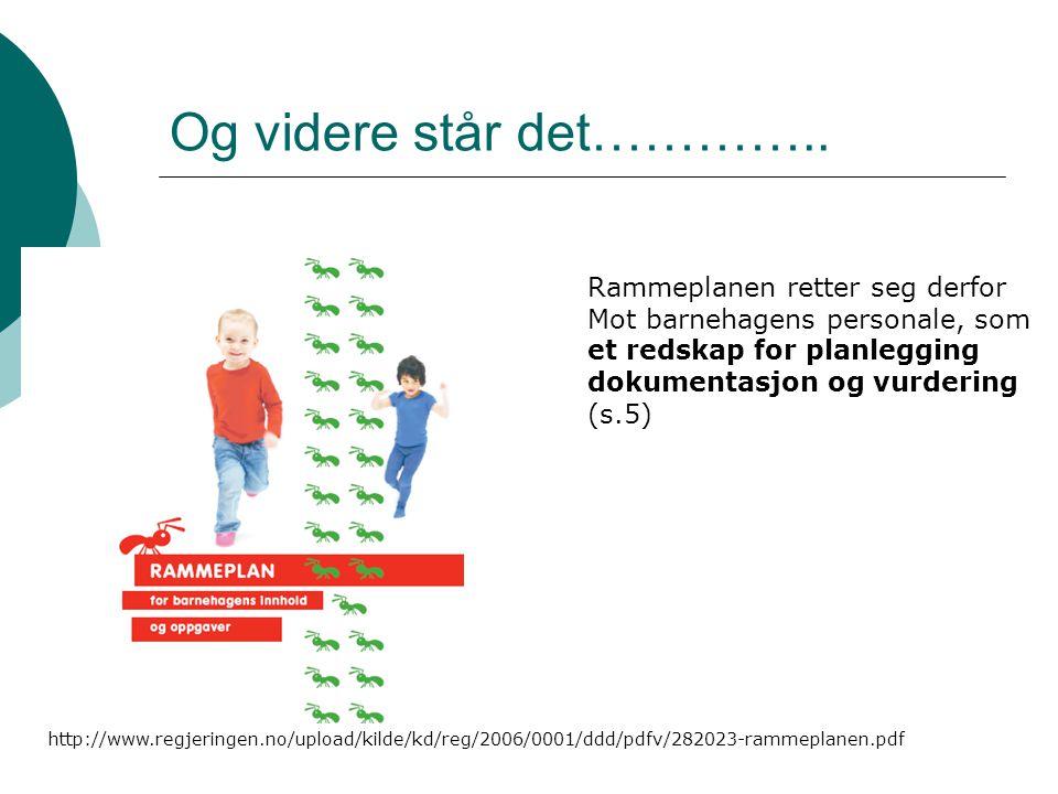 litteraturliste  Alvestad Marit (2001)Rammeplan i barnehagen fine ord på hylla eller utvikling i praksis.