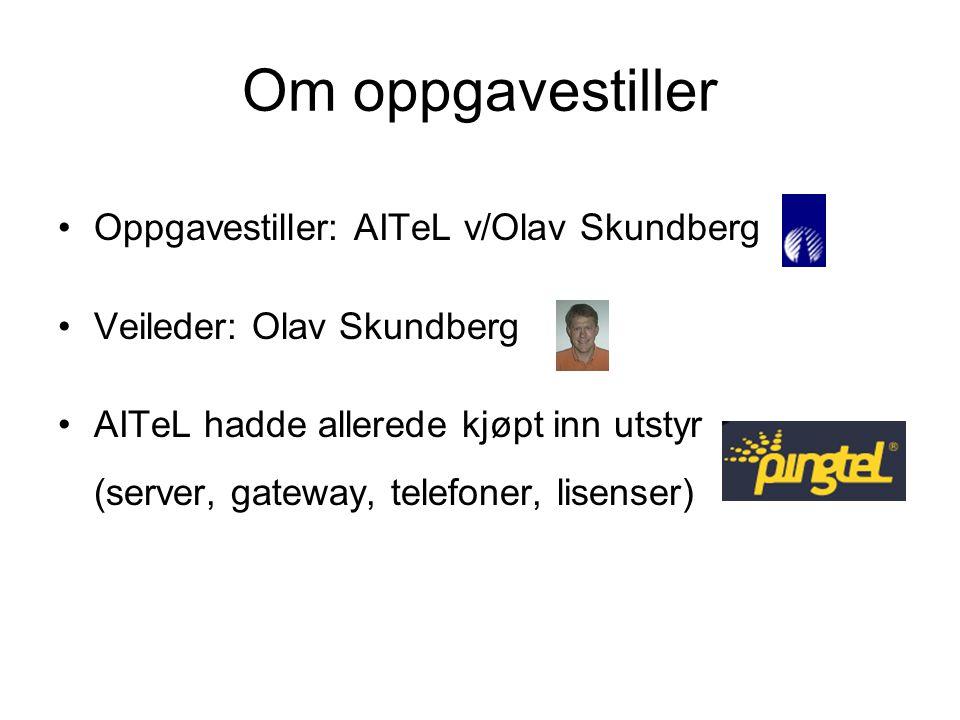 Om oppgavestiller Oppgavestiller: AITeL v/Olav Skundberg Veileder: Olav Skundberg AITeL hadde allerede kjøpt inn utstyr (server, gateway, telefoner, lisenser)