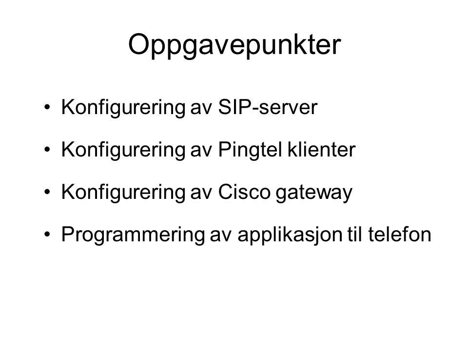Oppgavepunkter Konfigurering av SIP-server Konfigurering av Pingtel klienter Konfigurering av Cisco gateway Programmering av applikasjon til telefon
