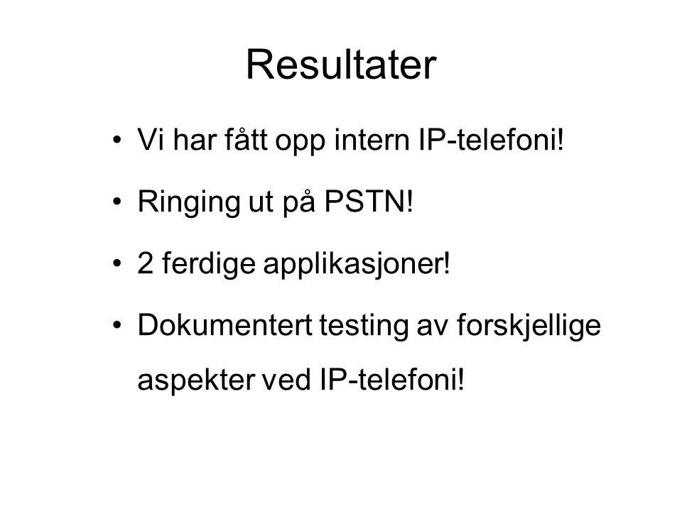 Resultater Vi har fått opp intern IP-telefoni.Ringing ut på PSTN.