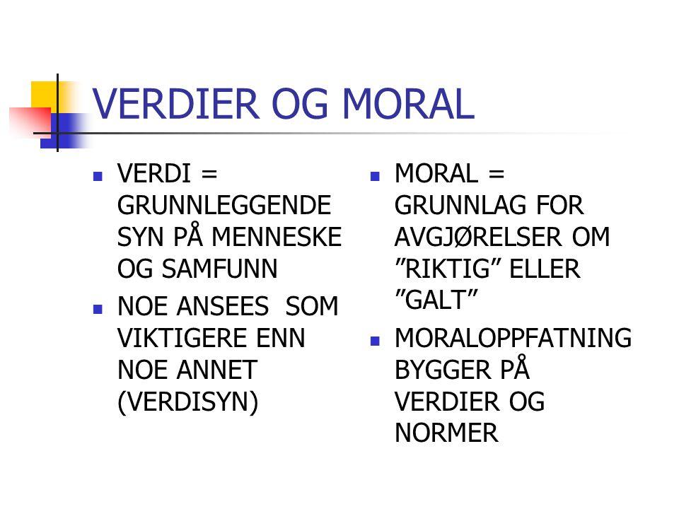 VERDIER OG MORAL MORAL = GRUNNLAG FOR AVGJØRELSER OM RIKTIG ELLER GALT MORALOPPFATNING BYGGER PÅ VERDIER OG NORMER VERDI = GRUNNLEGGENDE SYN PÅ MENNESKE OG SAMFUNN NOE ANSEES SOM VIKTIGERE ENN NOE ANNET (VERDISYN)