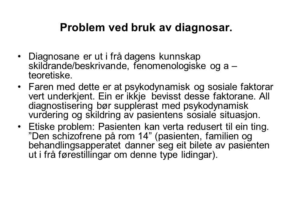 Problem ved bruk av diagnosar.