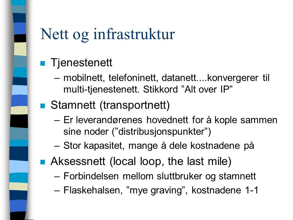 Nett og infrastruktur n Tjenestenett –mobilnett, telefoninett, datanett....konvergerer til multi-tjenestenett.