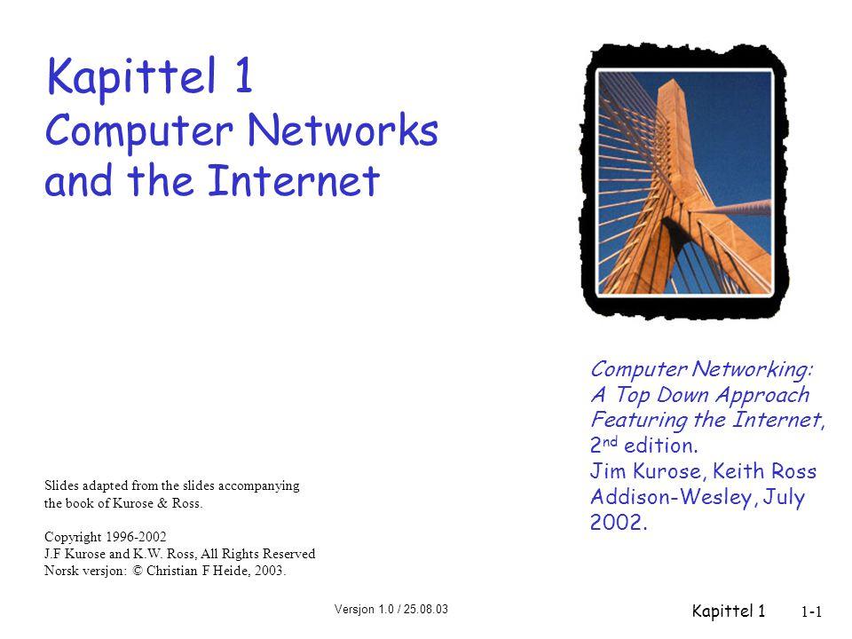 Versjon 1.0 / 25.08.03 Kapittel 11-42 Internetts historie  1970: ALOHAnet - satellitt- nett på Hawaii  1973: Metcalfes doktor- avhandling foreslår Ethernet  1974: Cerf og Kahn – arkitektur for å knytte sammen nett  slutten av 70-tallet: proprietære arkitekturer: DECnet, SNA, XNA  slutten av 70-tallet : svitsjing av pakker med fast lengde (forløper til ATM)  1979: ARPAnet har nå 200 nodes Cerf og Kahns prinsipper for sammenkobling av nett: m minimalisme, autonomy – ingen interne endringer skal være påkrevet for å sammenkoble nett m best effort tjenstemodell m tilstandsløse rutere m desentralisert styring definerer dagens Internett- arkitektur 1972-1980: Internetworking, nye og proprietære nett