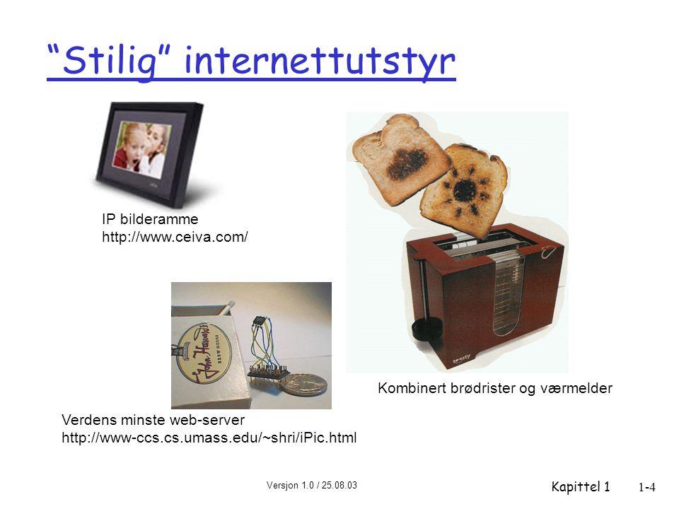 Versjon 1.0 / 25.08.03 Kapittel 11-4 Stilig internettutstyr Verdens minste web-server http://www-ccs.cs.umass.edu/~shri/iPic.html IP bilderamme http://www.ceiva.com/ Kombinert brødrister og værmelder