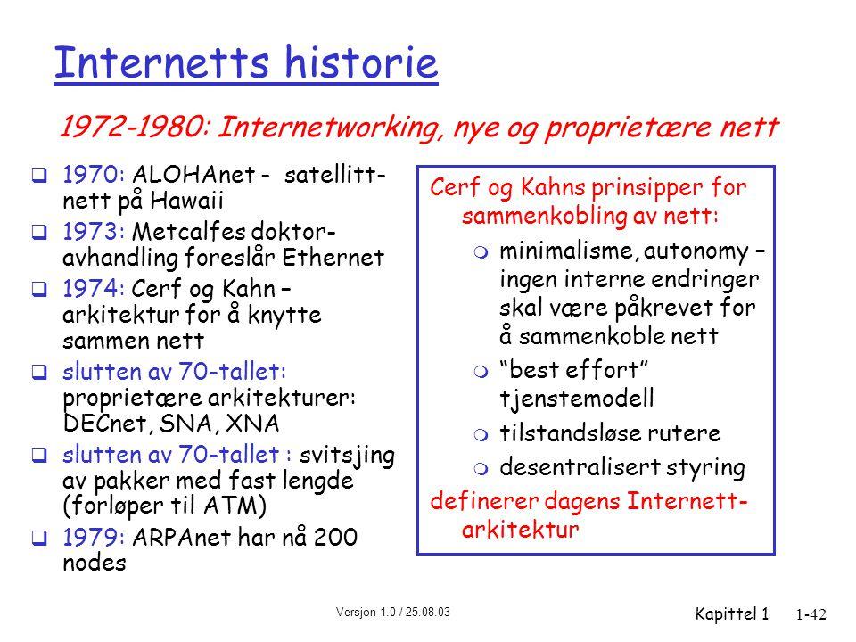 Versjon 1.0 / 25.08.03 Kapittel 11-42 Internetts historie  1970: ALOHAnet - satellitt- nett på Hawaii  1973: Metcalfes doktor- avhandling foreslår E
