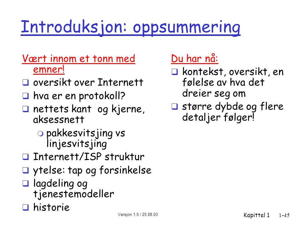 Versjon 1.0 / 25.08.03 Kapittel 11-45 Introduksjon: oppsummering Vært innom et tonn med emner!  oversikt over Internett  hva er en protokoll?  nett