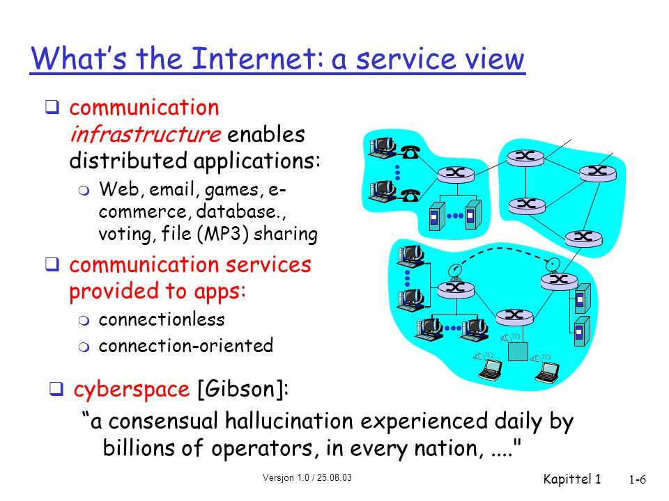 Versjon 1.0 / 25.08.03 Kapittel 11-17 Pakkesvitsjing: Segmentering av meldinger Deler meldingen i 5000 pakker  Hver pakke på 1500 b  L/R = 1500 b / 1.5 Mb/s = 1 ms for utsendelse av en pakke på en link  Kan videresende denne straks den er ankommet  Totalforsinkelse redusert fra 15 s til 5.002 s http://media.pearsoncmg.com/aw/aw_kurose_network_2/applets/message/messagesegmentation.html