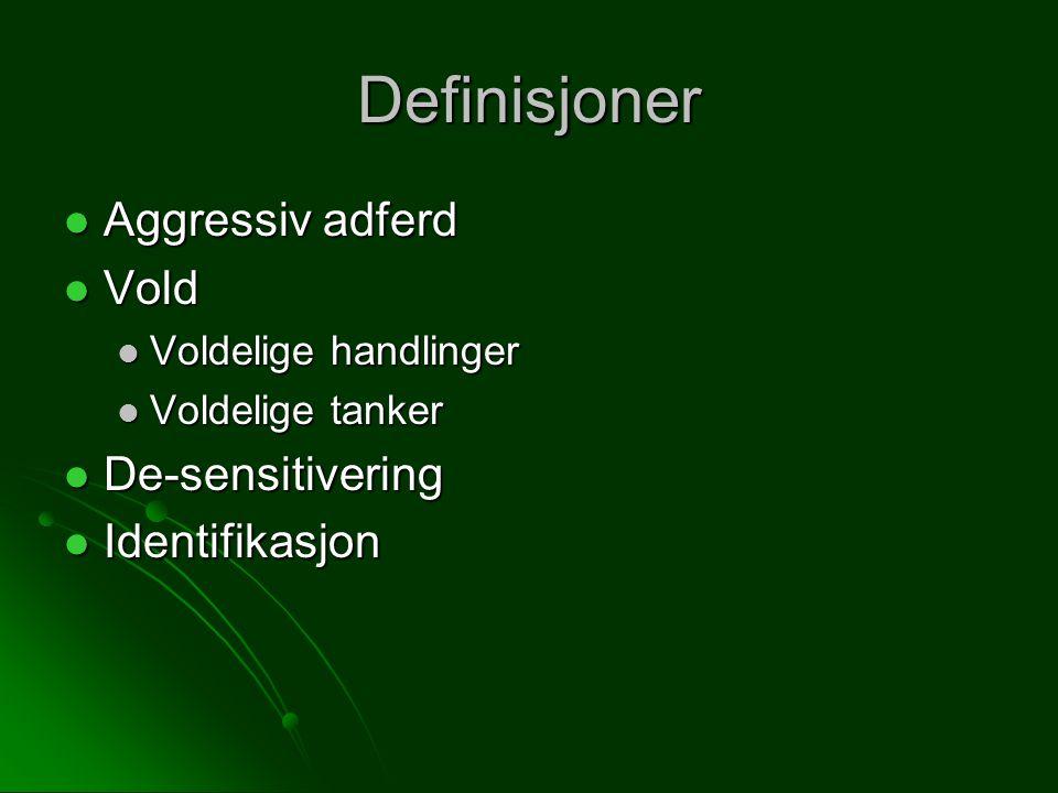 Definisjoner Aggressiv adferd Aggressiv adferd Vold Vold Voldelige handlinger Voldelige handlinger Voldelige tanker Voldelige tanker De-sensitivering De-sensitivering Identifikasjon Identifikasjon