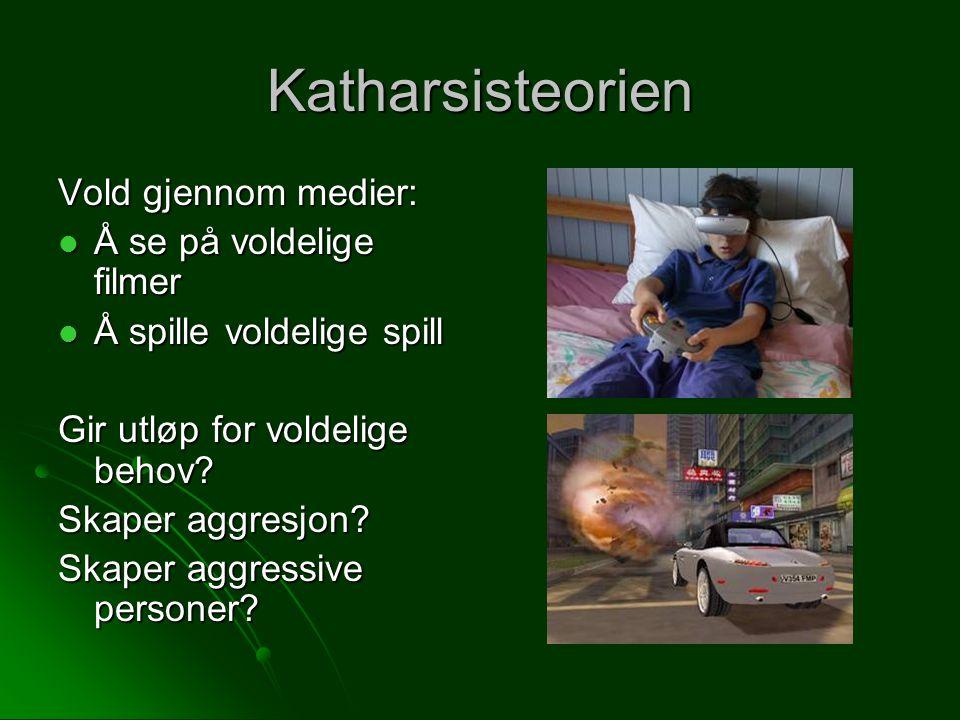 Katharsisteorien Vold gjennom medier: Å se på voldelige filmer Å se på voldelige filmer Å spille voldelige spill Å spille voldelige spill Gir utløp for voldelige behov.
