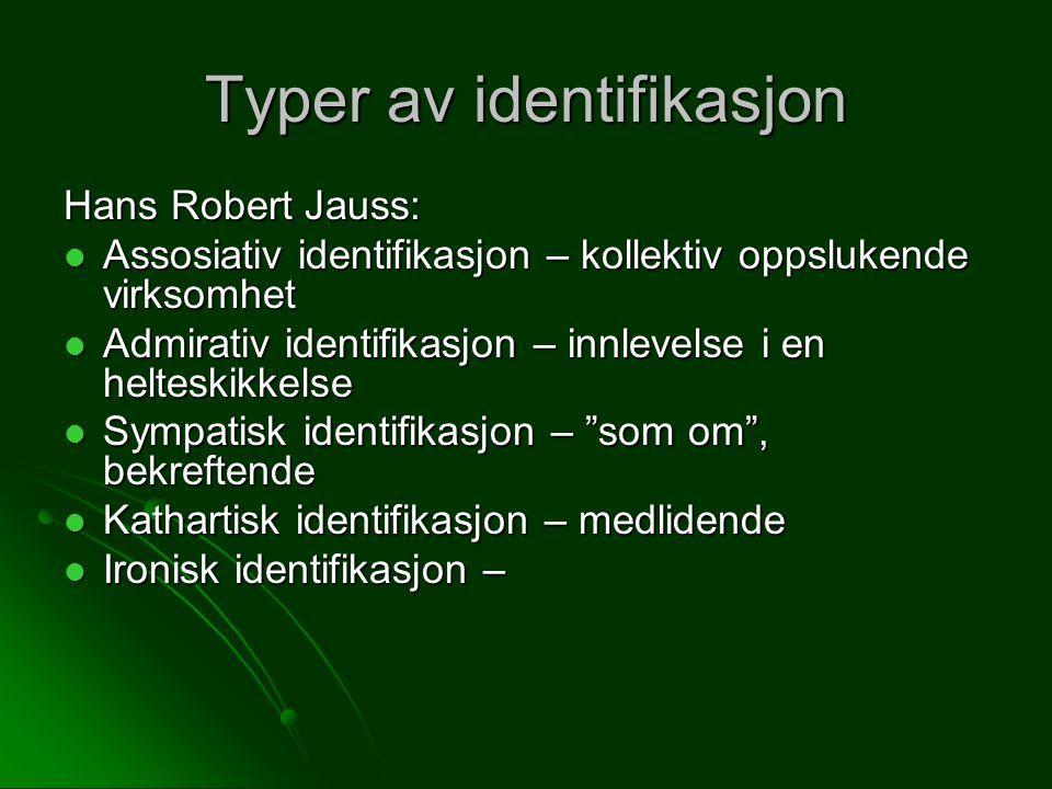 Typer av identifikasjon Hans Robert Jauss: Assosiativ identifikasjon – kollektiv oppslukende virksomhet Assosiativ identifikasjon – kollektiv oppslukende virksomhet Admirativ identifikasjon – innlevelse i en helteskikkelse Admirativ identifikasjon – innlevelse i en helteskikkelse Sympatisk identifikasjon – som om , bekreftende Sympatisk identifikasjon – som om , bekreftende Kathartisk identifikasjon – medlidende Kathartisk identifikasjon – medlidende Ironisk identifikasjon – Ironisk identifikasjon –