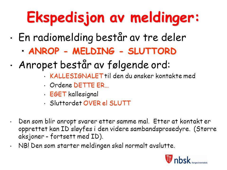 RADIOPROSEDYRER: hovedelementer Standard oppbygging ID - hvem snakker Tydelig Kortfattet Bruke OVER - SLUTT