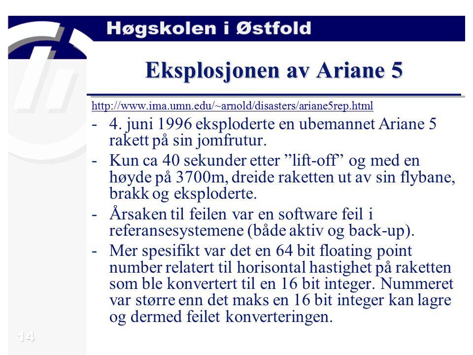14 Eksplosjonen av Ariane 5 http://www.ima.umn.edu/~arnold/disasters/ariane5rep.html -4.