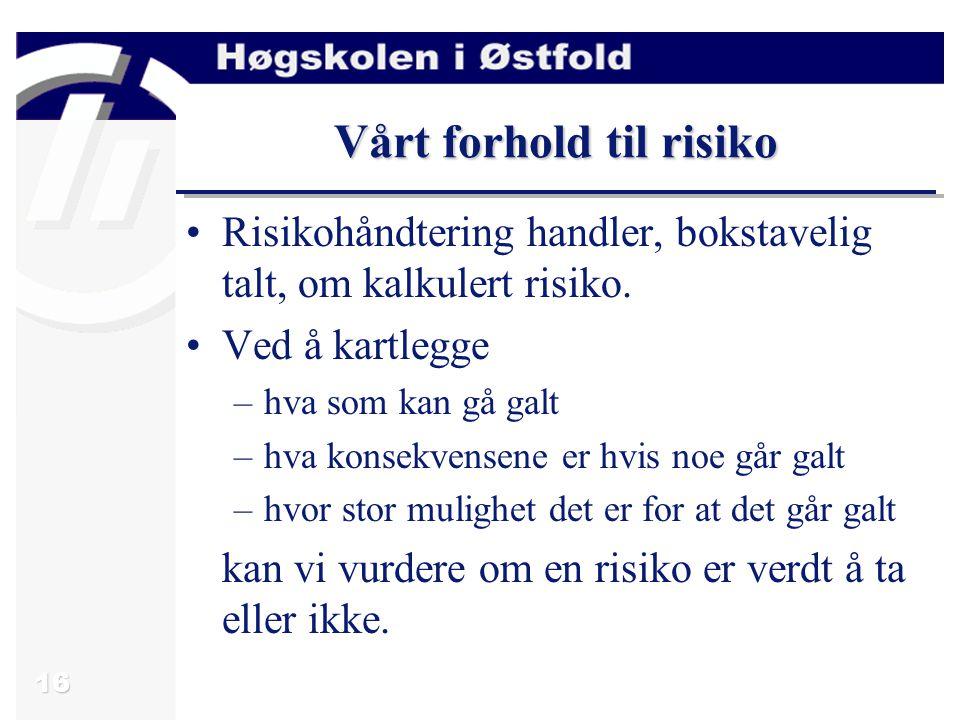 16 Vårt forhold til risiko Risikohåndtering handler, bokstavelig talt, om kalkulert risiko.