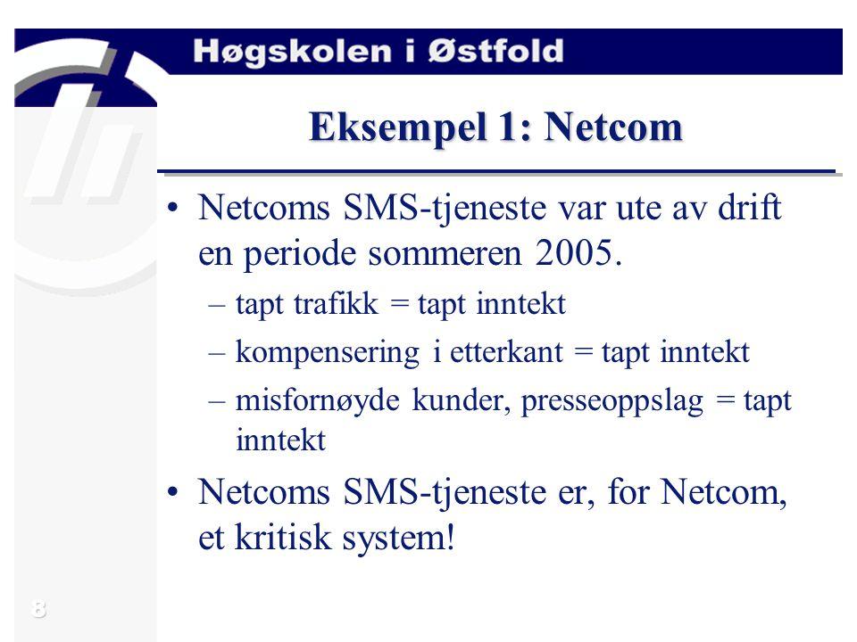 8 Eksempel 1: Netcom Netcoms SMS-tjeneste var ute av drift en periode sommeren 2005.