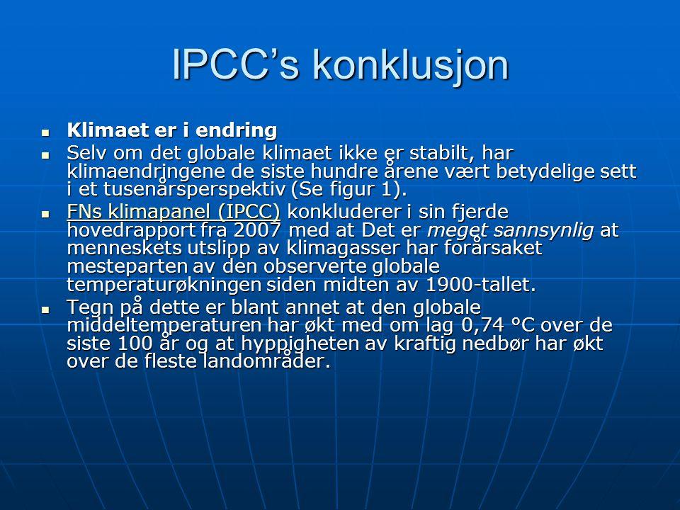 IPCC's konklusjon Klimaet er i endring Klimaet er i endring Selv om det globale klimaet ikke er stabilt, har klimaendringene de siste hundre årene vært betydelige sett i et tusenårsperspektiv (Se figur 1).